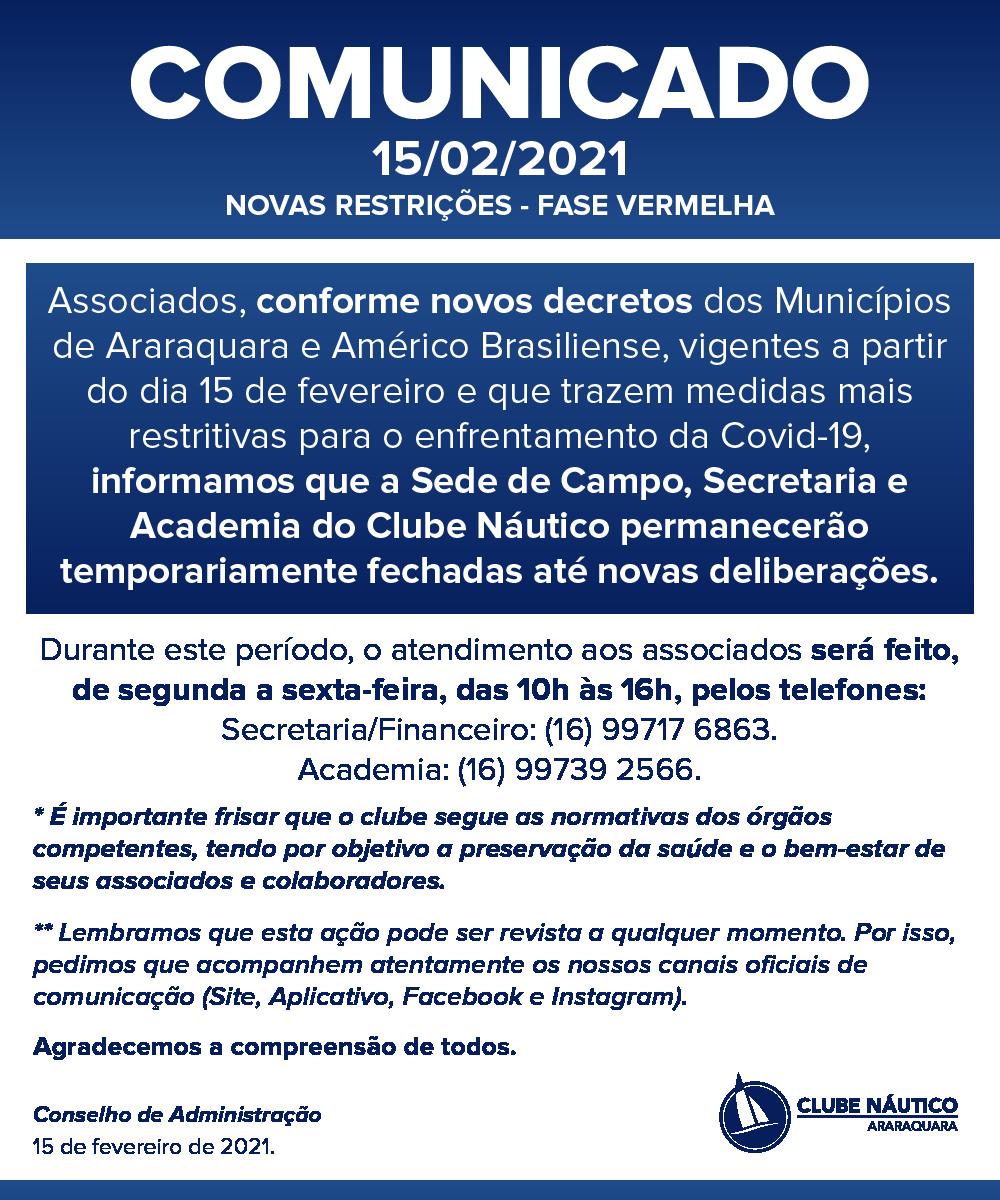 Comunicado 15 02 2021 Clube Nautico Araraquara